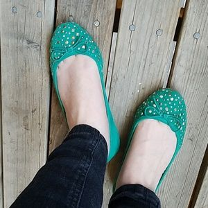 Green faux suede flats with sparkly embelleshments